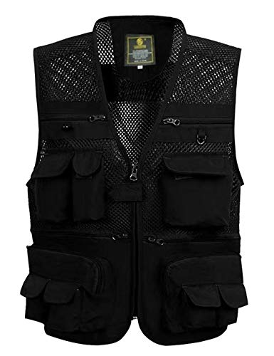 Gihuo Men's Summer Outdoor Work Safari Fishing Travel Vest With Pockets (XX-Large, Black-mesh)