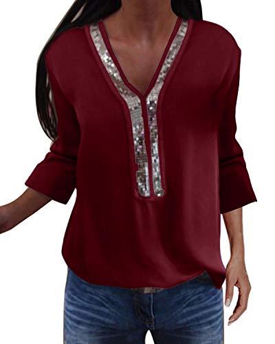 YOINS Sexy Schulterfrei Oberteil Damen Langarmshirt Elegant Glitzer Oberteile für Damen Pulli Bluse Bling Rundhals Aktualisierung-Z-Rotwein S