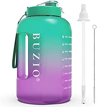 BUZIO 1 Gallon Water Bottle with Motivational Time Marker Reminder Straw