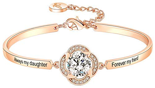 Christmas Bracelet Gifts, Always My Daughter Forever My Friend Love Hearts Bangle, Fashion Jewelry for Women…
