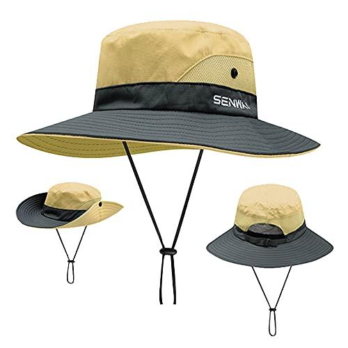 ZffXH Sombrero de pesca de protección solar con malla de cola de caballo ala ancha, marrón, L