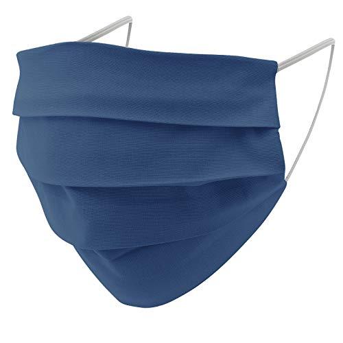 EllaTex 5er Pack Mund-Nasenschutz Masken/Atemschutz Maske Behelfsmaske Baumwolle WASCHBAR WIEDERVERWENDBAR in 10 Farben verfügbar, Farbe:Jeans - 5