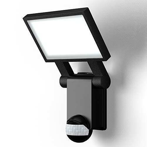 B.K.Licht applique murale noire IP44, détecteur de mouvements & capteur crépusculaire, éclairage extérieur jardin garage terrasse, platine LED puissante de 20W, 2000lm, lumière blanche neutre 4000K