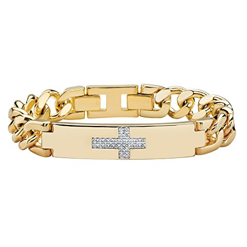 Men's 14K Yellow Gold Plated Round Genuine Diamond Cross Curb Link Bracelet (1/7 cttw, I Color, I3 Clarity)