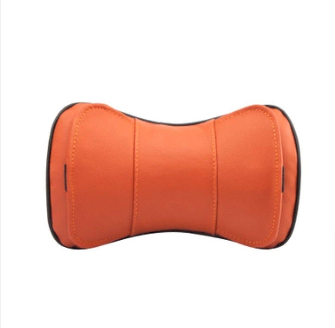 シリンダー労働者初心者Michalin オレンジ革の繊維車のヘッドレストの革自動車用品四季首プロテクタ1ペア