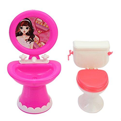 Pinzhi Bad Möbel Zubehör Kunststoff WC und Waschbecken-Set für Puppenhaus