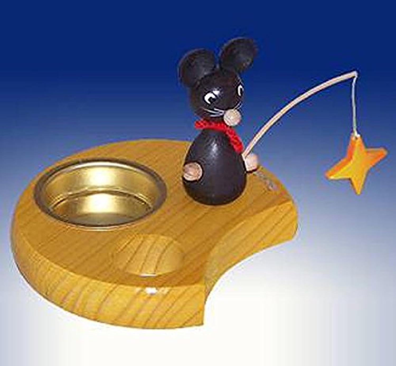 新しい星の装飾の民芸 Seiffen 6cm Erzgebirge の Tealight の所有者のマウス