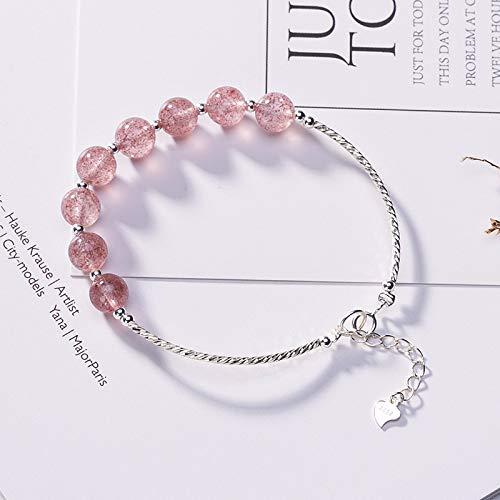 Laogg Jade Armbänder für Damen,S925 Sterling Silber Natürliche Erdbeere-kristallpulver Kristall Süß Silber Armband