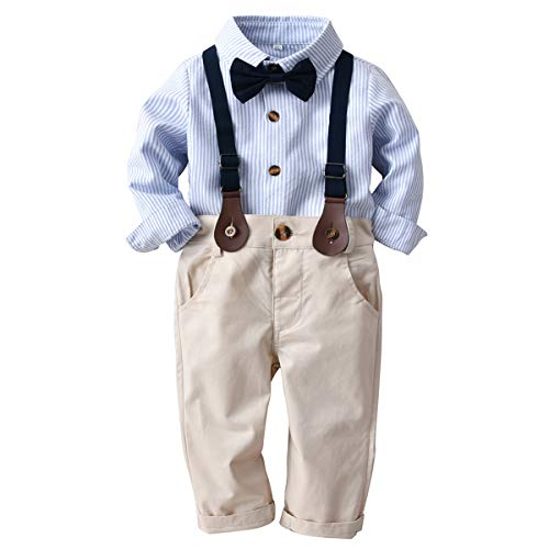 Haokaini Baby Jongen Gentlemen pak Outfits Set Streep Lange Mouw Shirt Straps Broek met Strik Tie