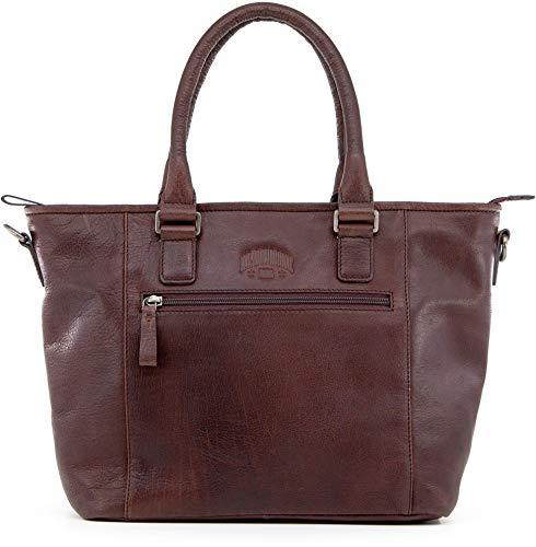 Klondike Milena Handtasche Damen aus Leder, Ledertasche Schultertasche Damentasche, Lederhandtasche Henkeltasche, Braun
