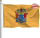 DFLIVE Double Sided New Jersey State Flag 3x5ft Heavy Duty Polyester 3 Ply NJ Flags Indoor and Outdoor Use