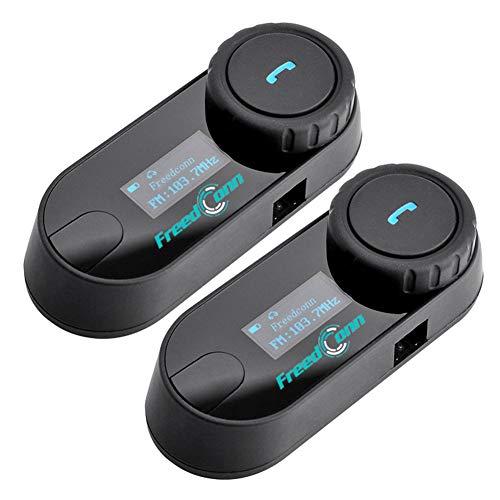 FreedConn TCOM-SCオートバイのヘルメットのブルートゥースヘッドセット、Bluetooth 防水 インターコム、800M LCDスクリーン付き 2人同時通話 3Riders FMラジオFreedConn TCOM-SCオートバイのヘルメットのブルートゥースヘッドセット、Bluetooth 防水 インターコム、800M LCDスクリーン付き 2人同時通話 3Riders FMラジオ搭載(ハードタイプケーブル、1台セット)(ハードタイプケーブル、2台セット)