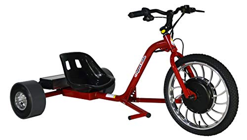 Superride 1000Watts Electric Drift Trike   Brush-Less Motor, High Carbon Steel Frame, Front Hydraulic Brake & Tubeless Tires (RED)