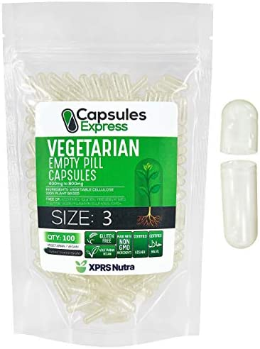 XPRS Nutra Size 3 Empty Capsules Clear Empty Vegan Capsules Capsules Express Vegetarian Empty product image