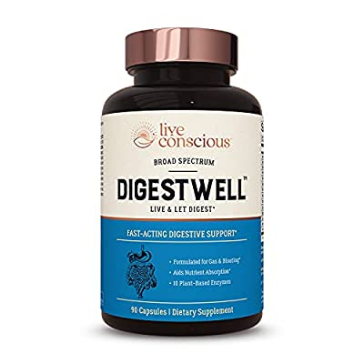 DigestWell Immediate Relief - Fast-Acting Digestive Support | Broad Spectrum Enzyme, Probiotic & Herbal Formula - Decreases Gas & Bloating - 90 Capsules