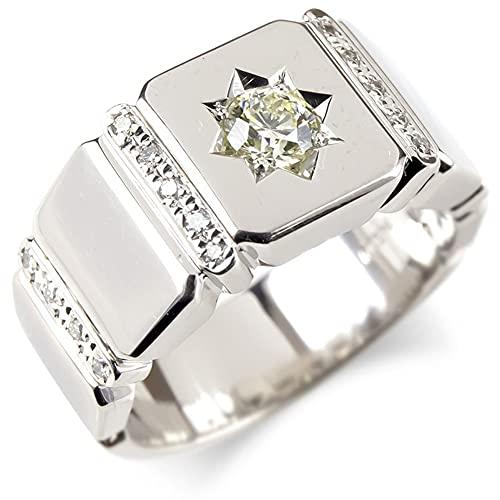 [アトラス] Atrus リング メンズ pt900 プラチナ900 ダイヤモンド 大粒 印台 指輪 pt900 太め ピンキーリング 幅広 29号