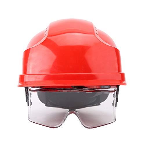 Schutzhelm Hard Hat ABS Schutzhelm Hard Hat Defender Integrierte Schutzbrille(rot)