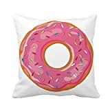 N\A Throw Pillow Cover Blue Bake Sweet Donut Pink Glaze Yellow Bakery Breakfast Funda de Almohada Decorativa para el hogar Funda de Almohada Cuadrada Funda de cojín