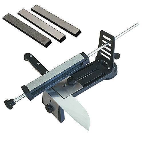 AMK Festwinkelmesserschärfer Kit, Profi-Koch Küchenmesser Schärfsteine Set mit Sicherheitsdesign und 3 Whetstones für alle Schleifsysteme