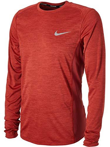 Nike Men's Dry Miler Long Sleeve Running Top Shirt Color Dune Red (Large)