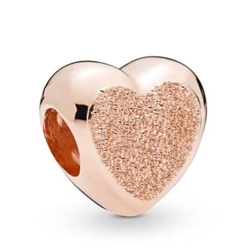 ZHANGCHEN Encanto de Perlas de Plata de Ley 925, Encanto de corazón Brillante Rosa Mate, Pulsera y Collar para Mujer, joyería DIY