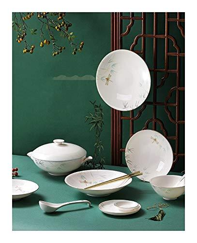 ASYCAN 12/32/48 Piezas de Porcelana Fina vajilla, Platos de cerámica de China de Hueso Vajilla patrón de Estilo Chino, Utensilios Conjunto Más del 45% de harina de Hueso Elegante y de Porcelana