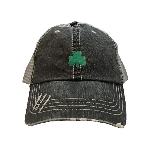 Go All Out One Size Black/Grey Adult Shamrock St. Patrick's Day Embroidered Distressed Trucker Cap