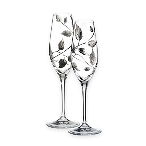 Qualità argento foglia viticcio design–Coppia di Flute da Champagne/decorato a mano in vetro soffiato a bocca–ideale per nozze d' argento/per il ° anniversario di matrimonio