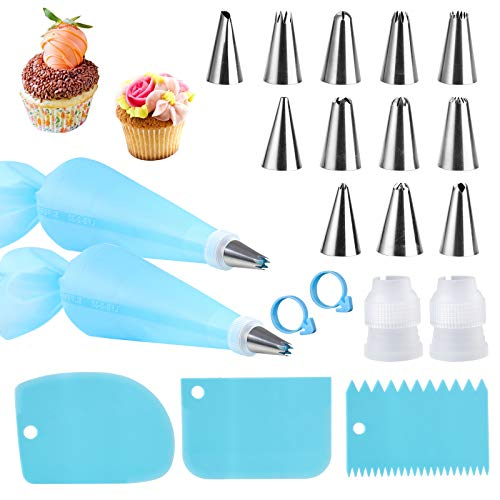 Piping Bags and Tips Cake Decorating Kits Supplies with 12 Stainless Steel Baking Supplies Icing Tips,2 Reusable Silicone Pastry Bags,3 Icing Smoother & 2 Couplers for Baking Decorating Cake