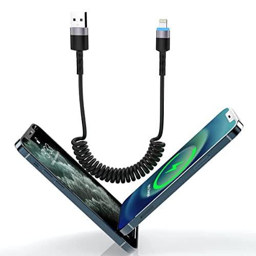 Cable de carga USB de 1.8M/6ft para CarPlay, cable de carga rápida de Apple Adaptador de cargador retráctil LED con resorte de datos de sincronización USB para iOS/iPhone 12/11/SE/Xs/Xr/8/7/iPad/iPod