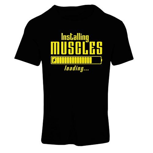 lepni.me Camiseta Mujer Muscle Works Clothing - for Muscle Growth Masters, Vintage Design, Fitness Clothes (Large Negro Amarillo)