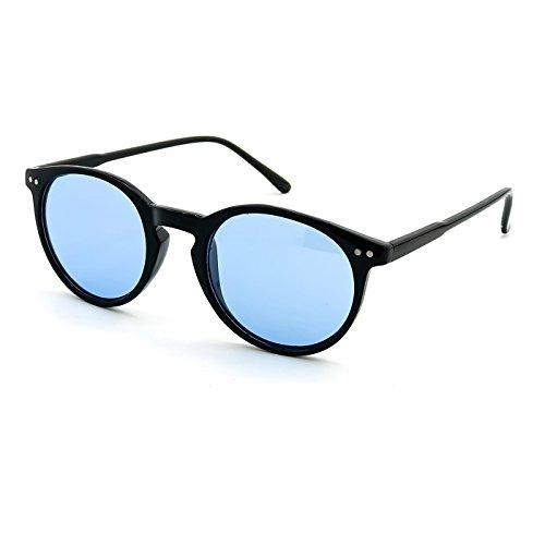 KISS Sonnenbrille stil MOSCOT mod. WAVE Johnny Depp - Cult VINTAGE Licht mann frau RUNDEN unisex - SCHWARZ/Blau