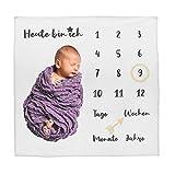 Baby-Decke Meilensteindecke Monatsdecke Fotodecke für Baby Milestone Fotografie-Requisiten Hintergrund-Tuch Deutsch 100x100cm (weiß/schwarze Schrift)