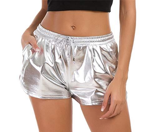 Taydey Damen Yoga-Hot-Shorts, glänzende Metallic-Hose mit elastischem Kordelzug ,A1-silber ,US XXL (EU 3XL - 4XL)