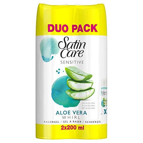 Gillette Satin Rasiergel Damen mit Avocado, pflegt die Haut und bietet besondere Gleitkraft mit Avocadoöl, 2er Pack (2 x 200 ml)