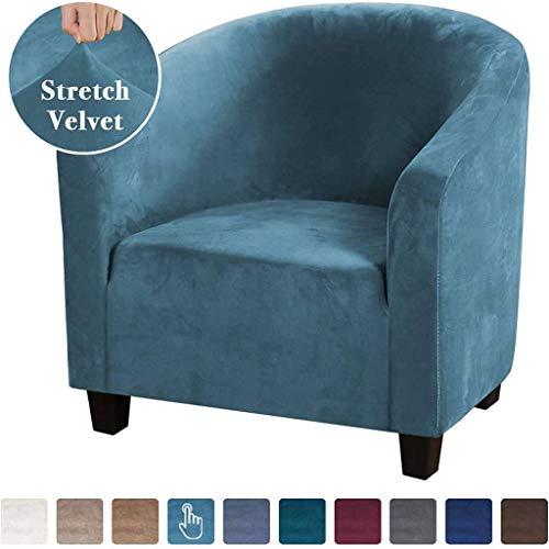 JHLD Sesselüberwurf, Samt Sesselschoner Elastische Sesselhusse Abwaschbar Sesselbezug Für Bar Cafe-Blau-Clubsessel