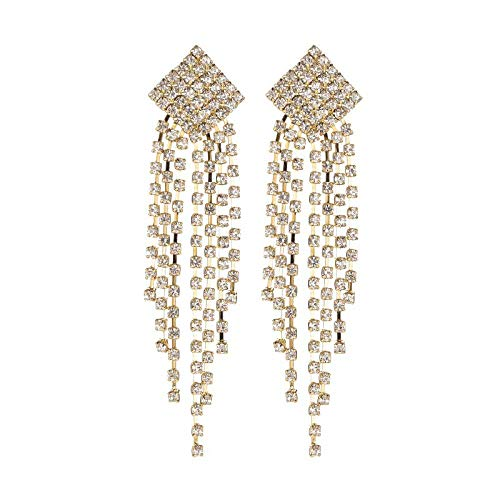 FEICHANGNIU Temperament Lange Geometrische Kristallohrringe Frauenatmosphäre Blinkende Diamant Diamant Quaste Ohrringe Bankett Brautkleid Accessoires