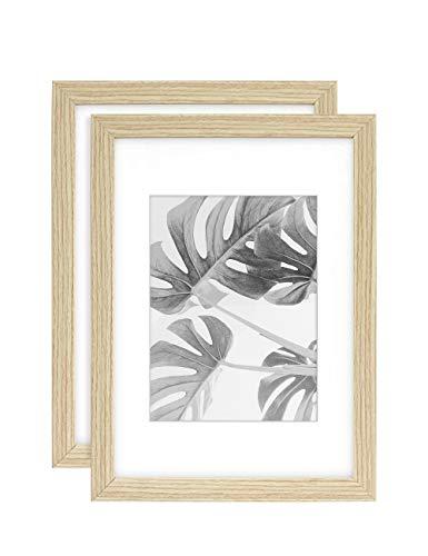 Afuly A4 Bilderrahmen 15x20 Holz Natur Portrait Wand oder Schreibtisch Homedeco mit Passepartout,2er Set