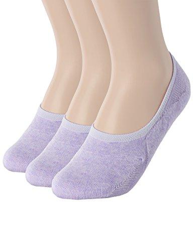 OSABASA Womens Casual No-Show 3Pairs Socks of Various Pastel Colors PURPLE L (SET3KWMS058)