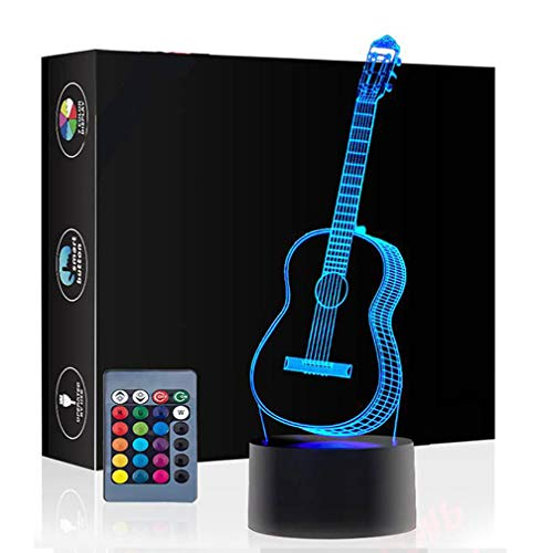 Christmas Gift Guitar 3D Illusion Birthday Present Lamp, Gawell 7 Color Changing Touch Switch Table Desk Decoration Night Lamp with Acrylic Flat & ABS Base & USB Cable Toy for Music Lover