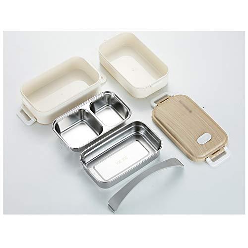 Bento box lunch box met roestvrij stalen container met twee compartimenten thermische isolatie De verwarming kan in de vaatwasser voor een picknick in de school worden gebruikt,White