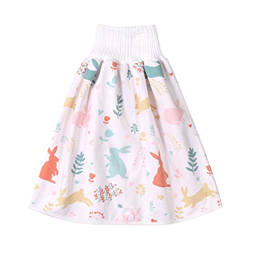 XSHH Comfy Children's Adult Diaper Skirt Shorts, 2 in 1 Waterproof and Absorbent Shorts for Baby Toddler (D, M)