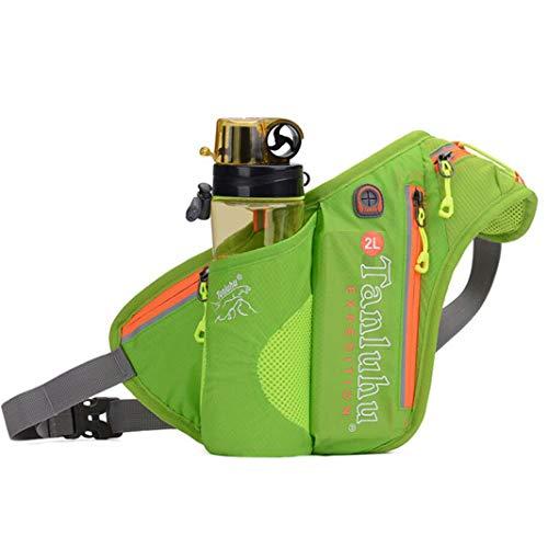 ZHDXW Cinturón de correr con soporte para botella de agua, bolsa de cintura, paquete de cintura para acampar, escalada, viajes, ciclismo, color verde