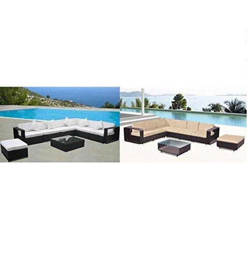 Bagno Italia CANAPÉ DE SALON FAUTEUIL rotin synthétique table basse noir/marron jardin extérieur décoration