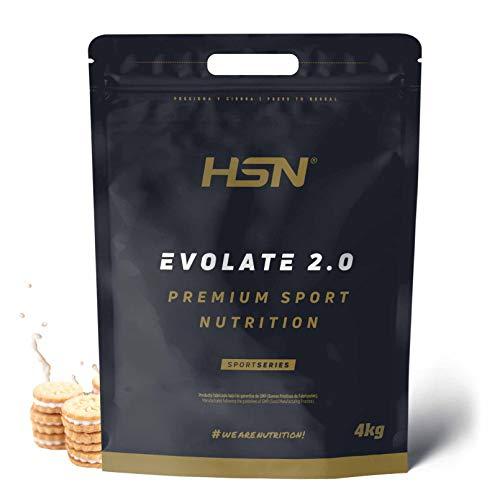 Aislado de Proteína de Suero de HSN Evolate 2.0 | Whey Protein Isolate | Proteína CFM + Enzimas Digestivas (Digezyme) + Masa Muscular + Vegetariana | Sin Gluten, Sin Soja, Sabor Galleta y Crema, 4Kg
