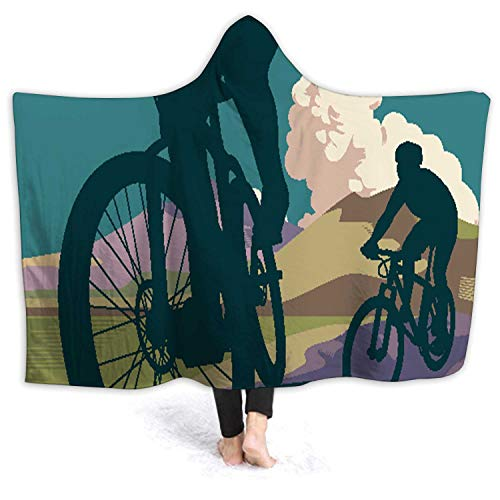 Hitecera Mountain Bikes Ccling,Wele Throw Blanket Microfiber Bedding for Kids and Adults Biccle S 50''x40''(WxH)