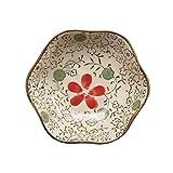 Platos de Salsa Estilo japonés de soja platos de salsa conjunto de 6, cerámicos de uso doméstico flor Dishe Porción por bola de masa hervida, Plato de acompañamiento, Sushi (10 * 2.8 * 5.3cm) Cuencos