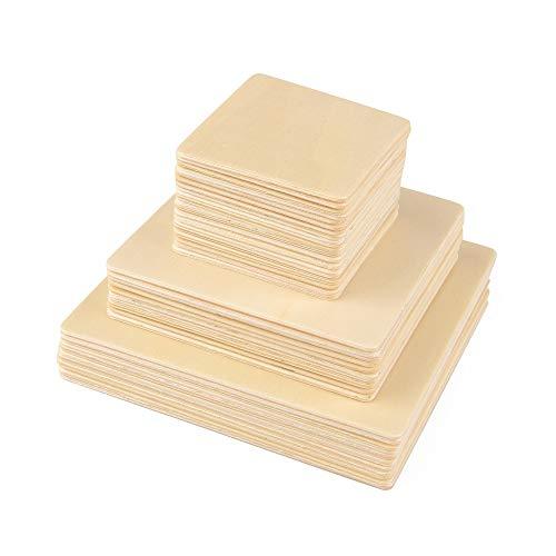 ewtshop® 40 houten vierkanten, 3 maten: 10 cm + 8 cm + 5 cm, voor knutselwerk, als decoratie, 2 mm dikte