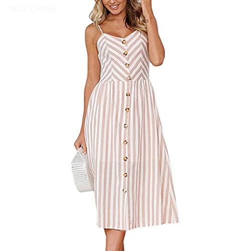 ONLY CHARM Damen Streifen Sommerkleid, Drucken Ärmelloses Rückenfrei Maxikleid Knöpfe Vintage Cocktailkleid Großformat, Brown,XL