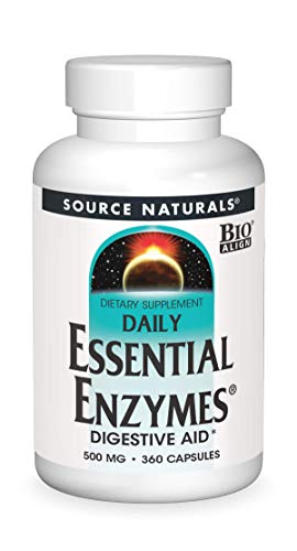 Source Naturals Essential Enzymes 500mg Bio-Aligned Multiple Enzyme Supplement Herbal Defense for Digestion, Gas, Constipation & Bloating Relief - Supports A Strong Immune System - 360 Capsules